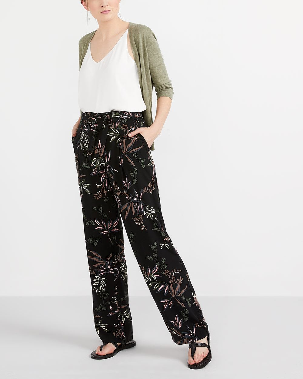 Printed Wide Leg Pants with Sash