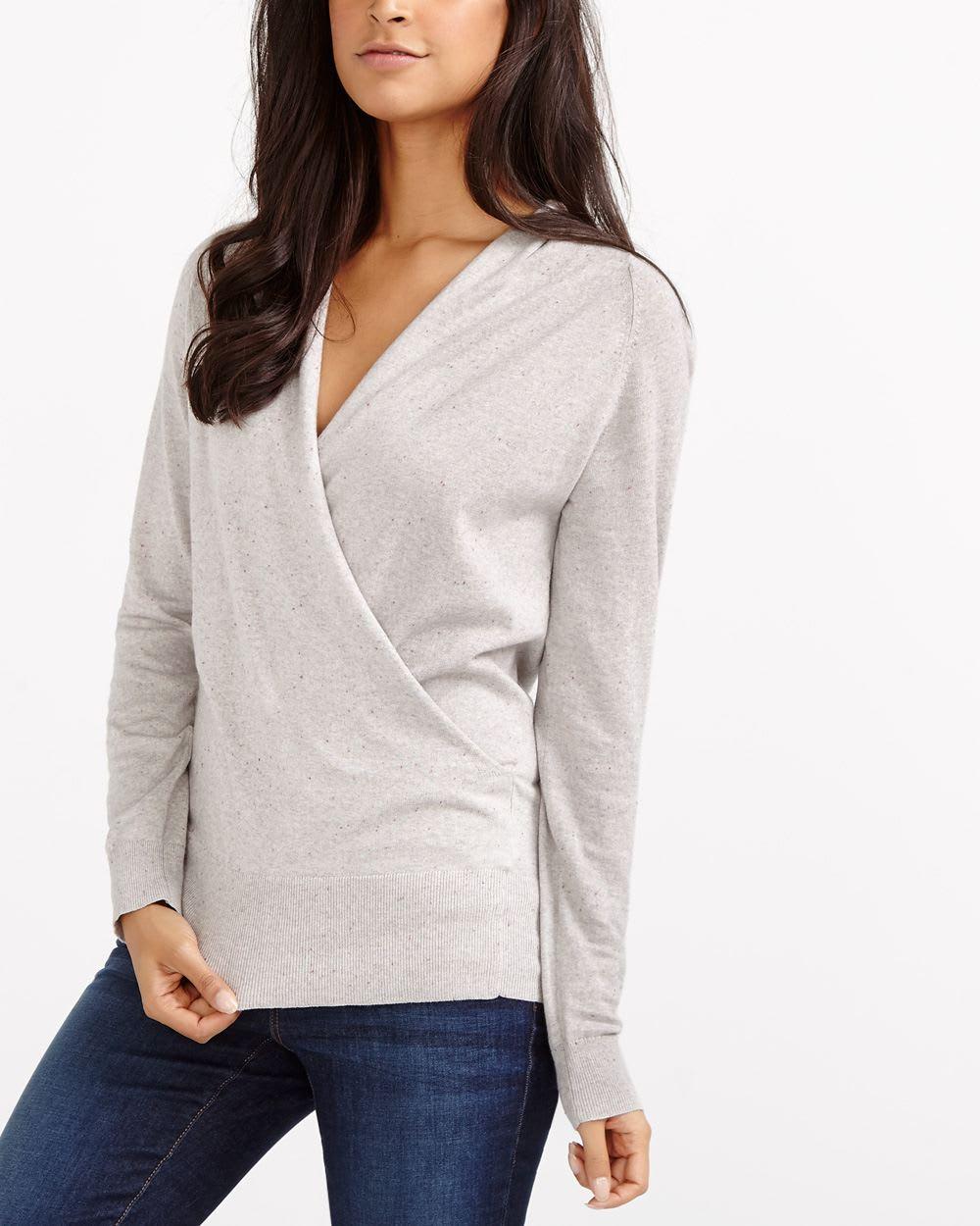 224eed87f Rib Hem Wrap Sweater