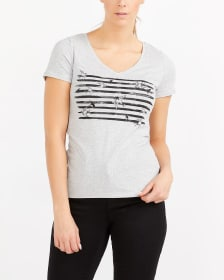 R Essentials Staple V-Neck Printed Tee