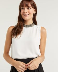 Sleeveless Beaded Mock Neck Blouse
