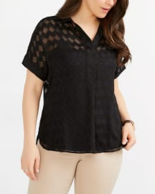 Dolman Short Sleeve Textured Blouse