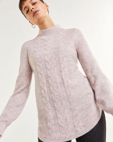 Long Balloon Sleeve Mock Neck Cable Pattern Sweater