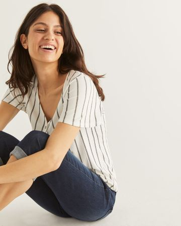 Stripe Tee with Flutter Sleeves - Petite