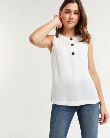 Sleeveless Blouse with Large Buttons