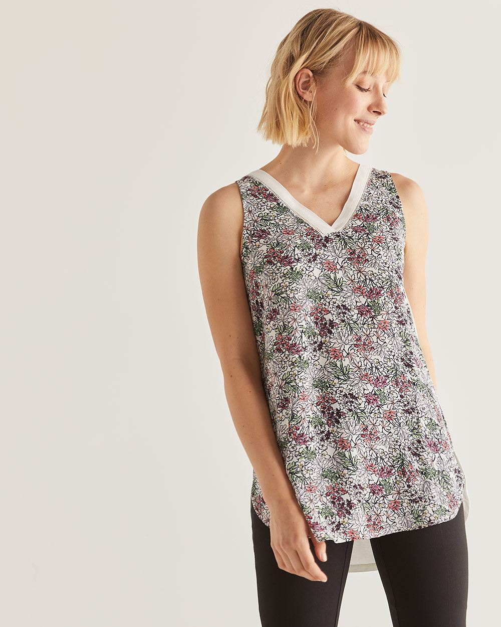Mix Media Printed Tank Top