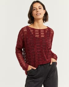 Long Sleeve Chenille Crochet Top