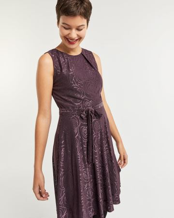 Sleeveless Fit & Flare Dress with Metallic Print
