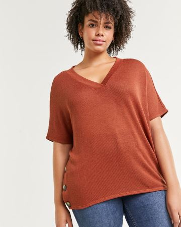 Dolman Sleeve Tee with Decorative Buttons