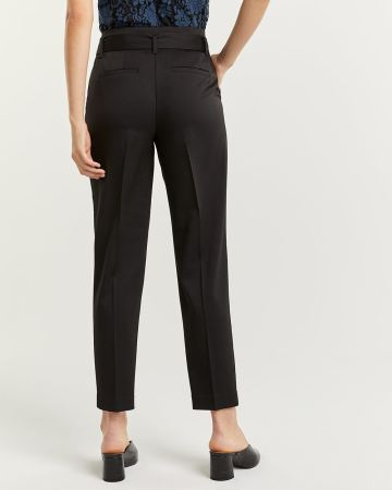 Pleated Peg Leg Black Pants with Sash