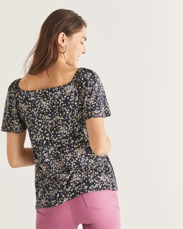 Buttoned-Down Floral Print Tee