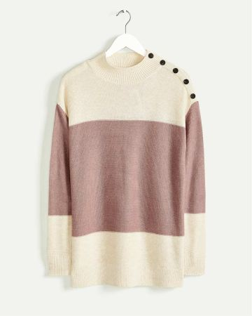 Long Sleeve Mock Neck Colorblock Sweater with Buttons
