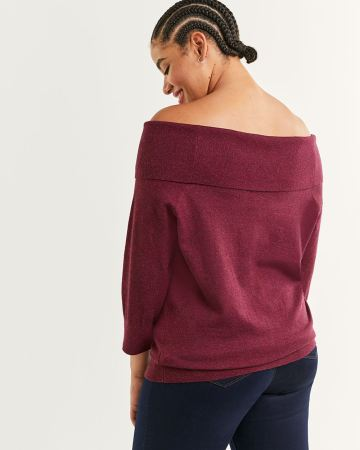 Off-The-Shoulder Folded Collar 3/4 Sleeve Sweater