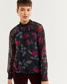 Long Raglan Sleeve Printed Top with Smocking