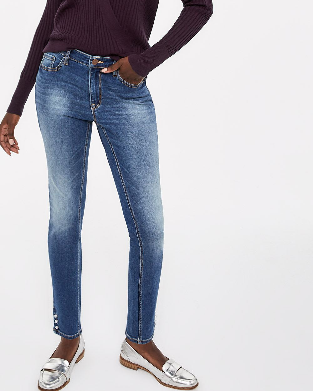 Pearl Hem Medium Wash Skinny Jeans