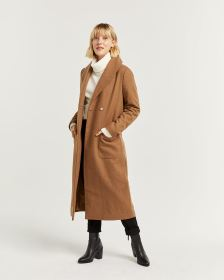 Shawl Collar Duster Wool-Blend Coat with Sash