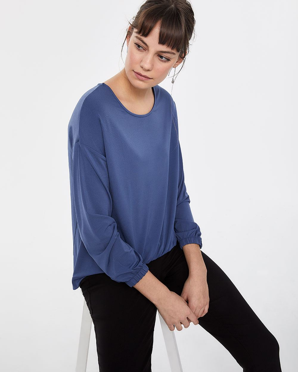 Long Sleeve Front Elastic Top