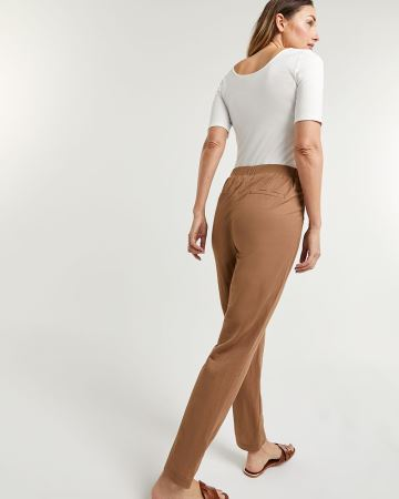 Tapered Pull On Pants with Half Sash