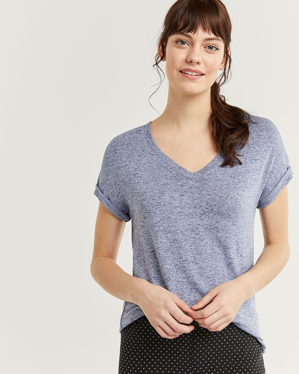 V-Neck Tee with Rolled Cuffs