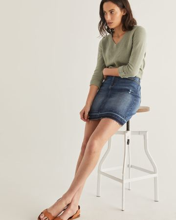 Released-Hem Denim Skirt