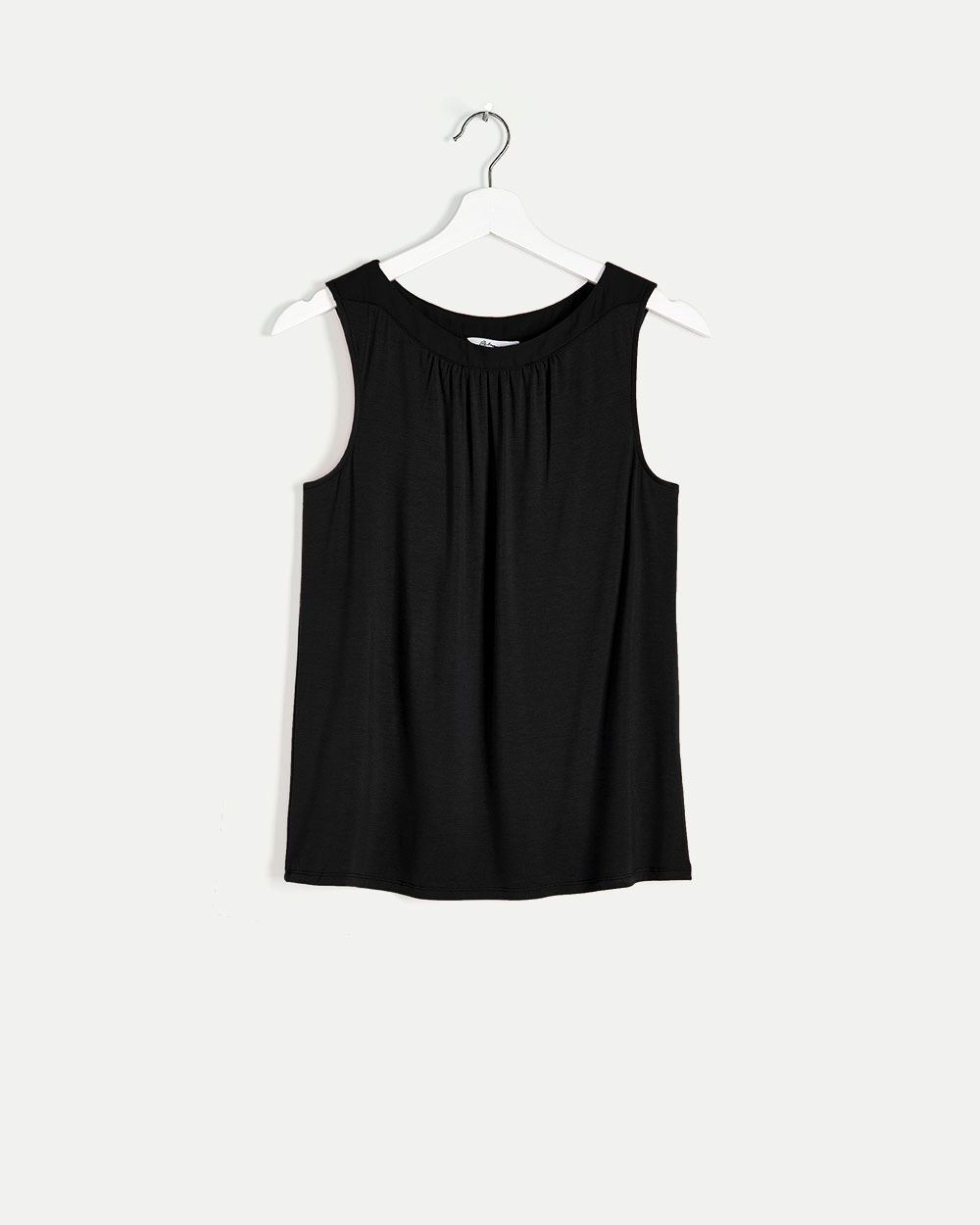 Boat Neck Cami with Woven Band and Shirring