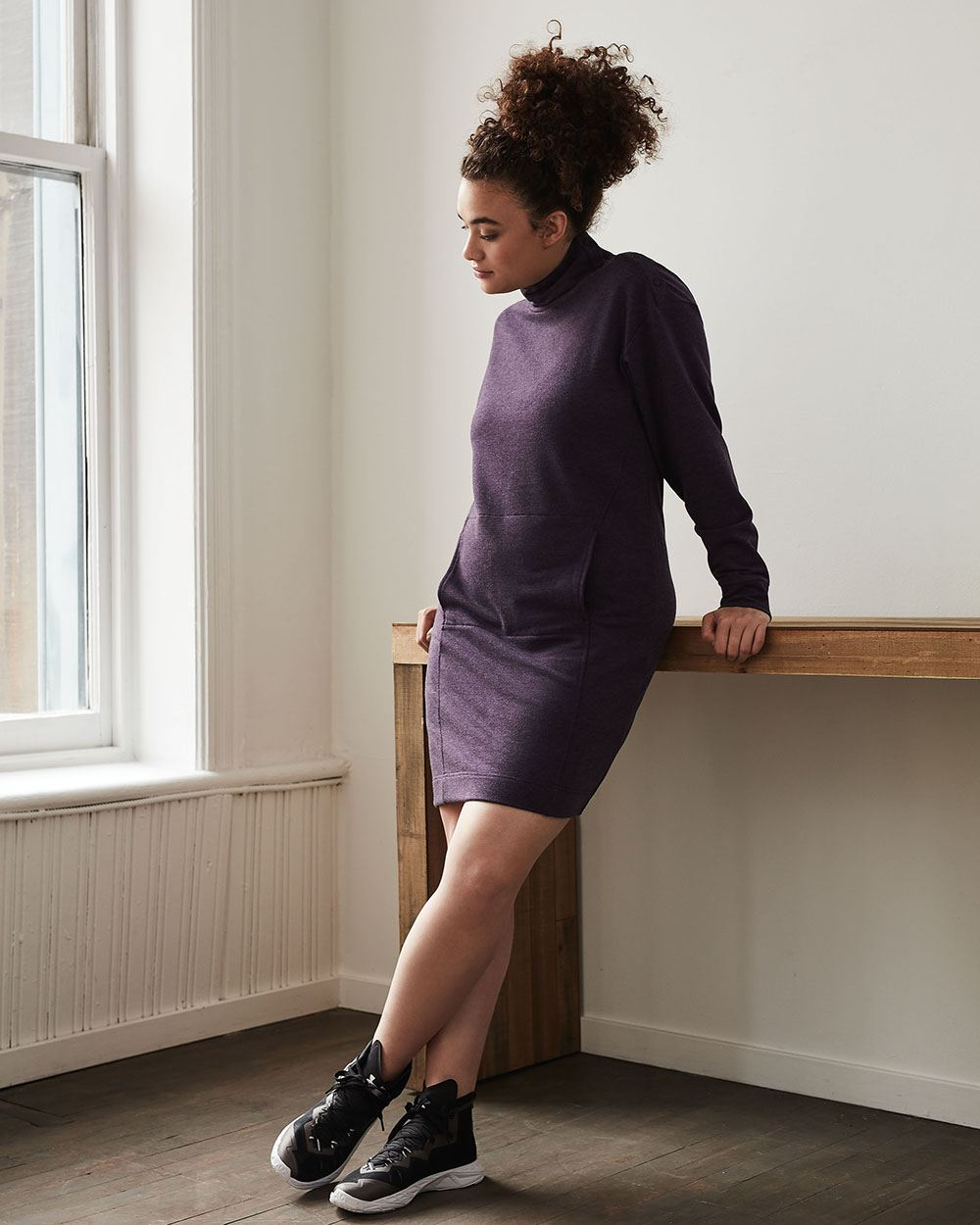 Mock Neck Fleece Dress with Snap Buttons