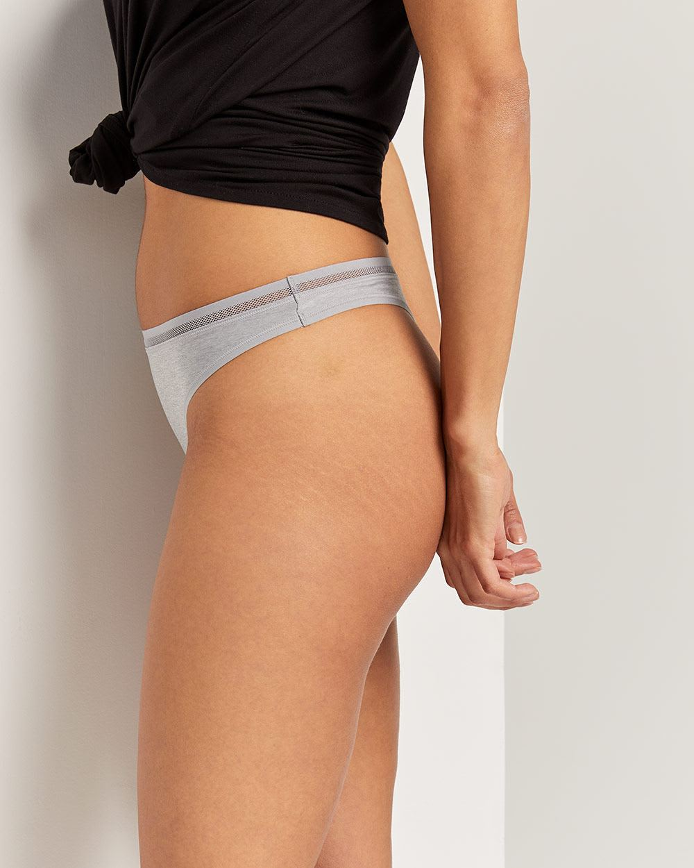 Microfiber Thong Panty with Mesh