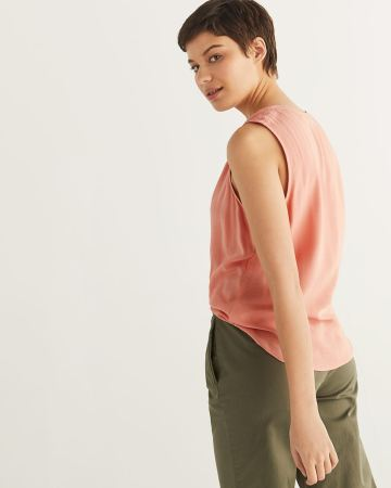 Sleeveless Blouse with Folded Detail
