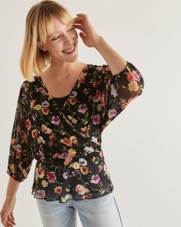 Floral Printed Wrap Blouse