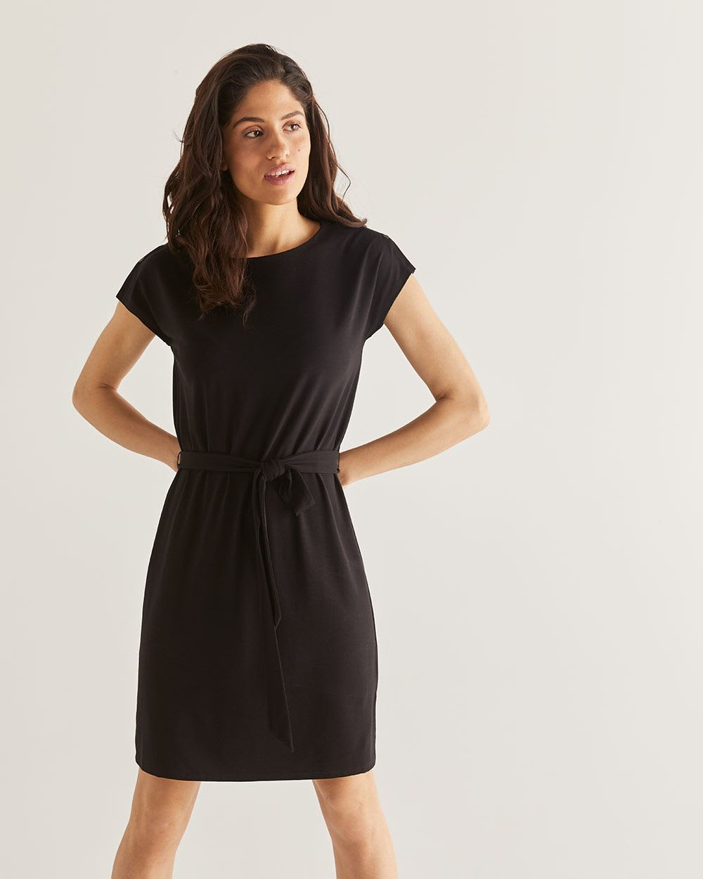 Self-Belted Black Shift Dress