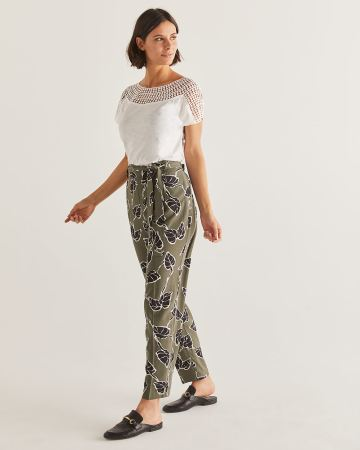Slim Printed Ankle Pants with Sash - Tall