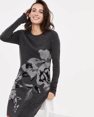 Crew Neck Patterned Dress