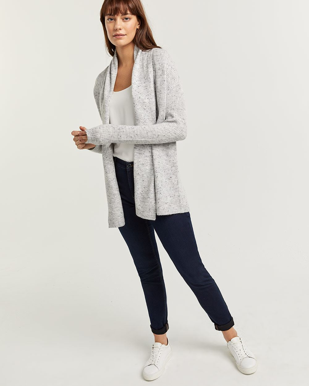 Nep Yarn Open Cardigan