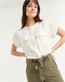 Mao Collar Short Sleeve Blouse