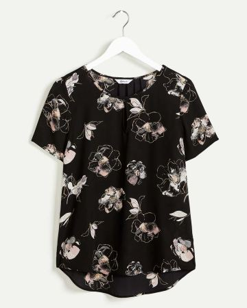 Short Sleeve Printed Blouse with Front Keyhole