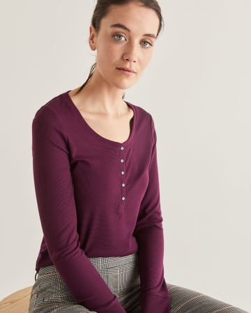 Long Sleeve Henley Rib Tee