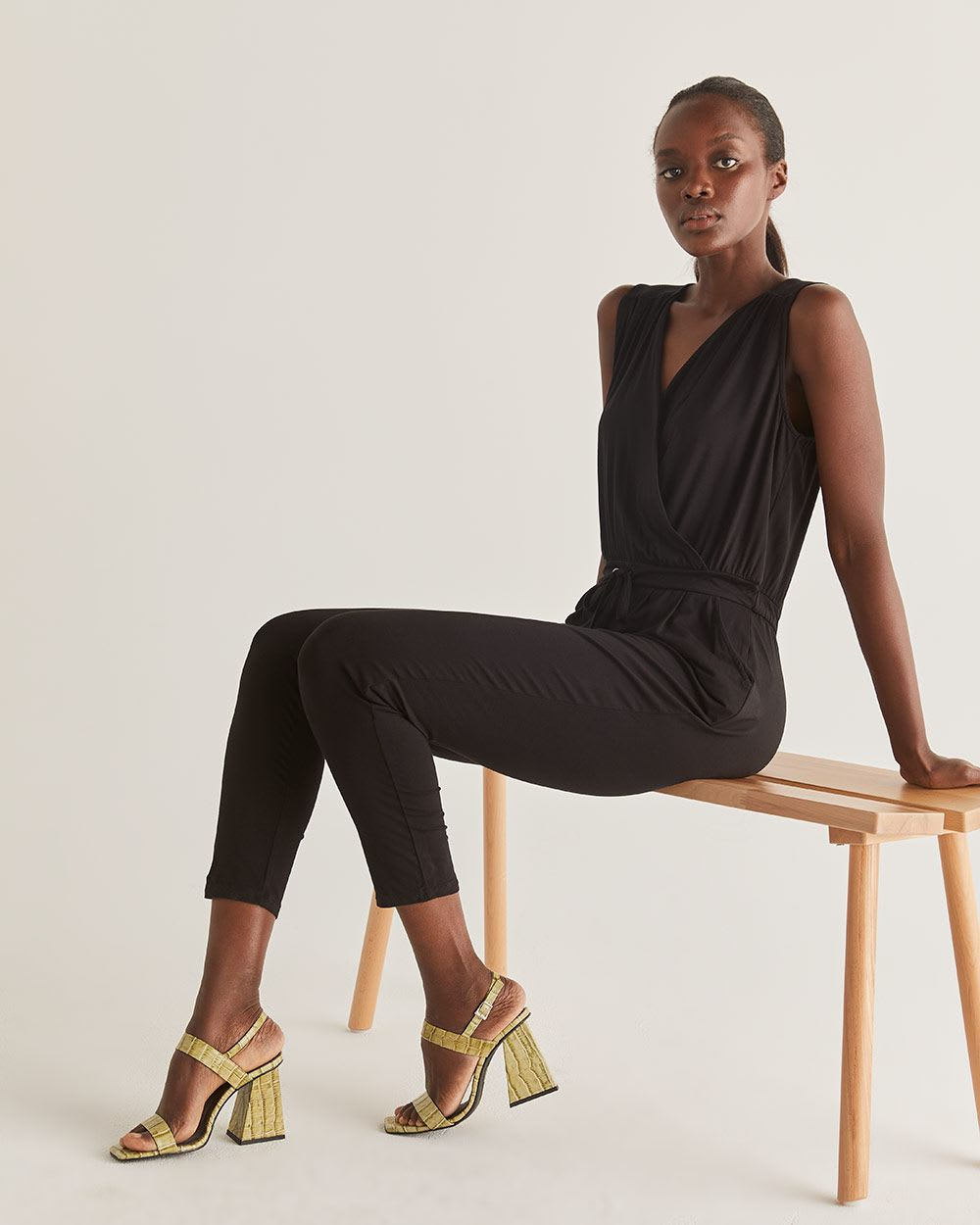 Black Wrap Neck Jumpsuit - Tall