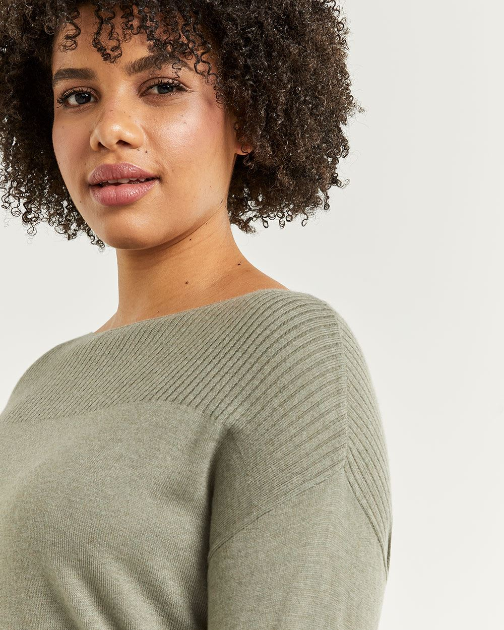 Boat Neck Sweater with Rib Stitch Details