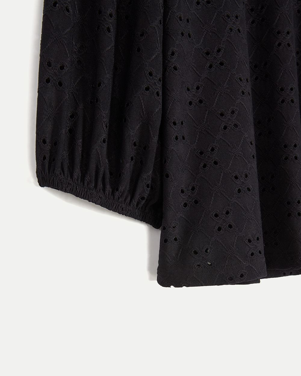 3/4 Sleeve Eyelet Top