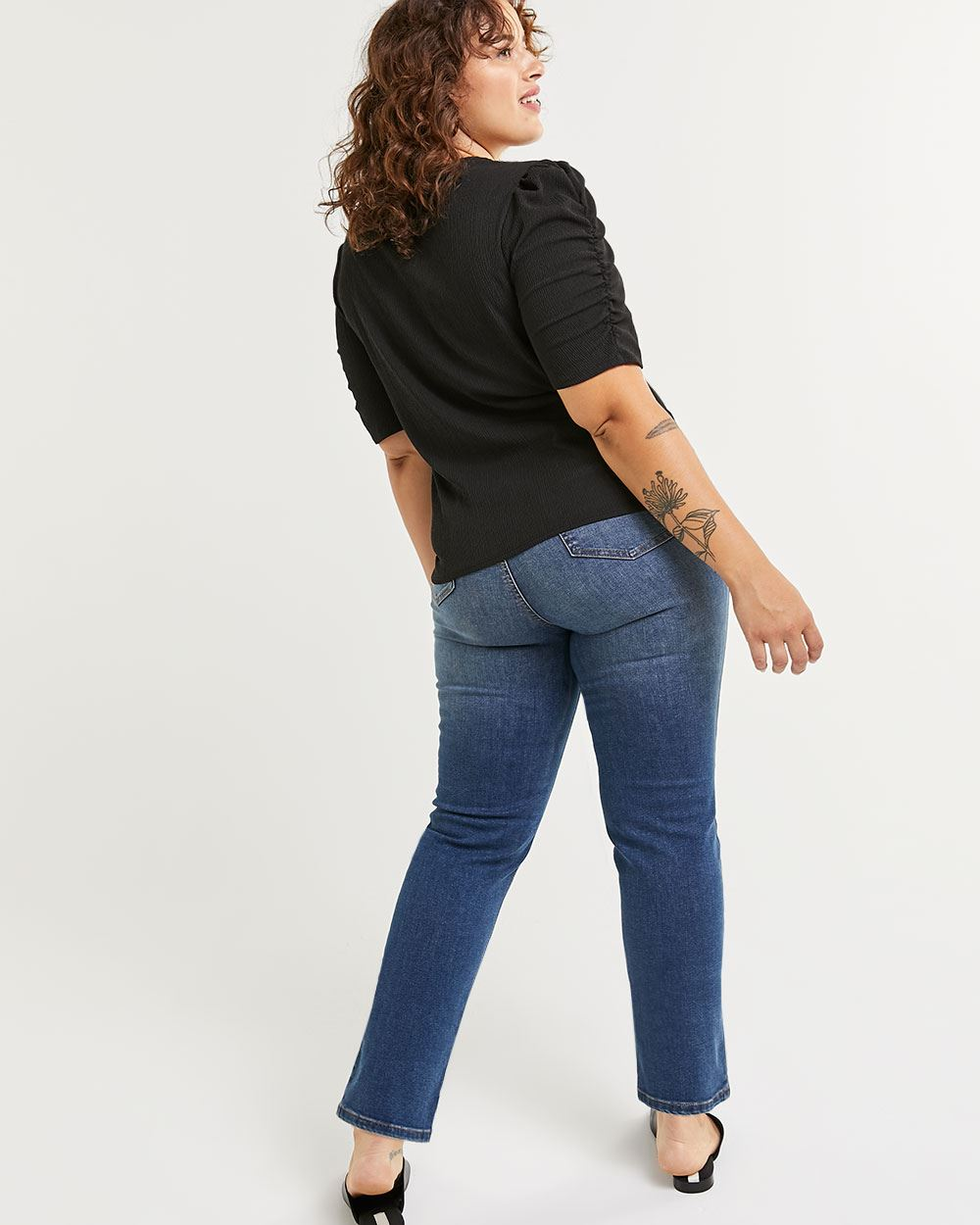 Elbow Sleeve Tee with Shirring