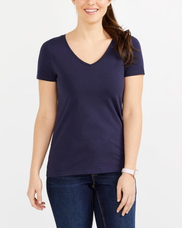 R Essentials Staple V-Neck Tee