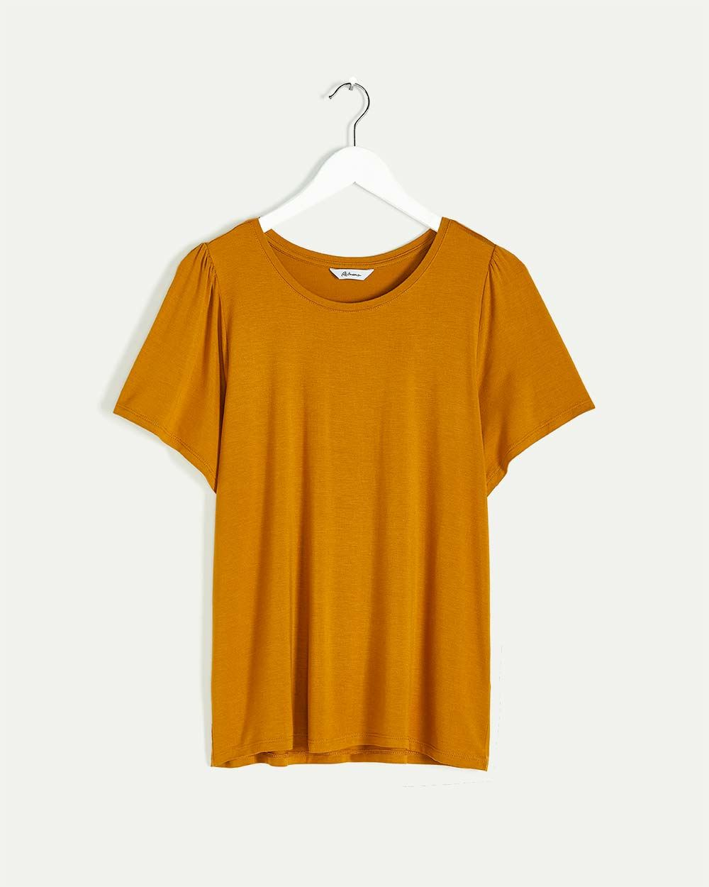 Short Sleeve Tee with Shirring at Shoulders