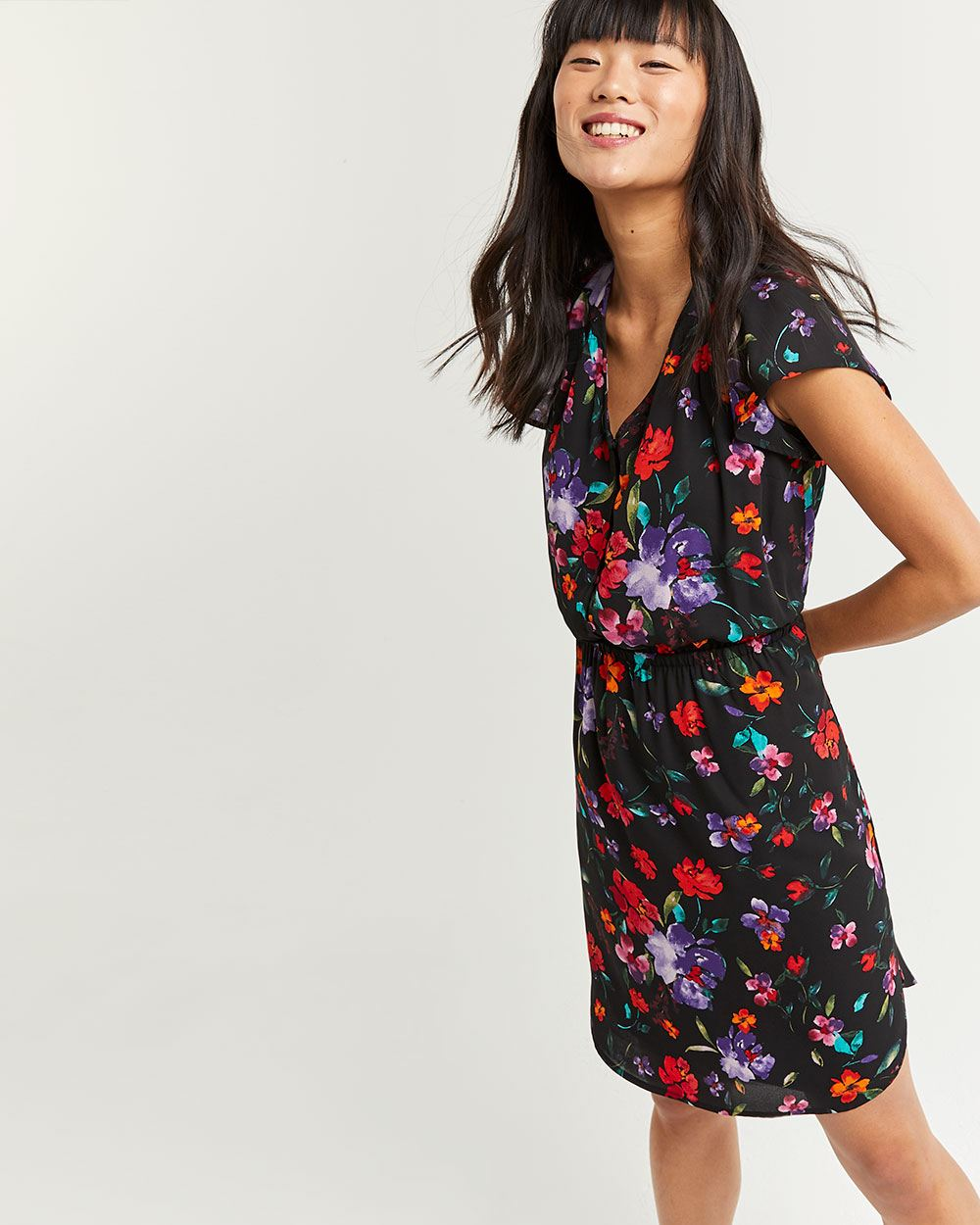 Floral Print V-Neck Elastic Waist Dress