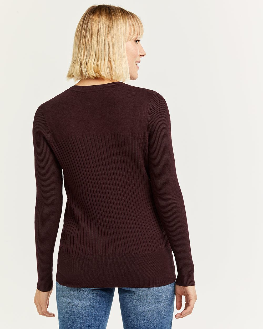 Long Sleeve Crew Neck Tee with Snap Buttons