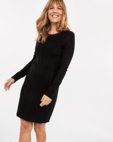 Crew Neck Dress with Buttons