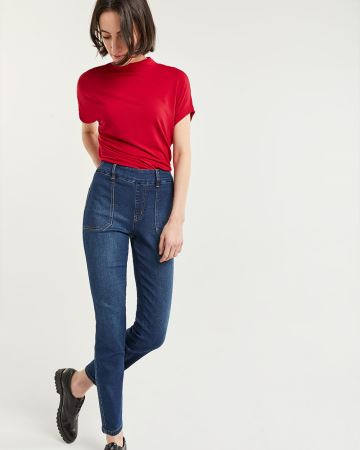 High Rise Skinny Jeans with Patch Pockets