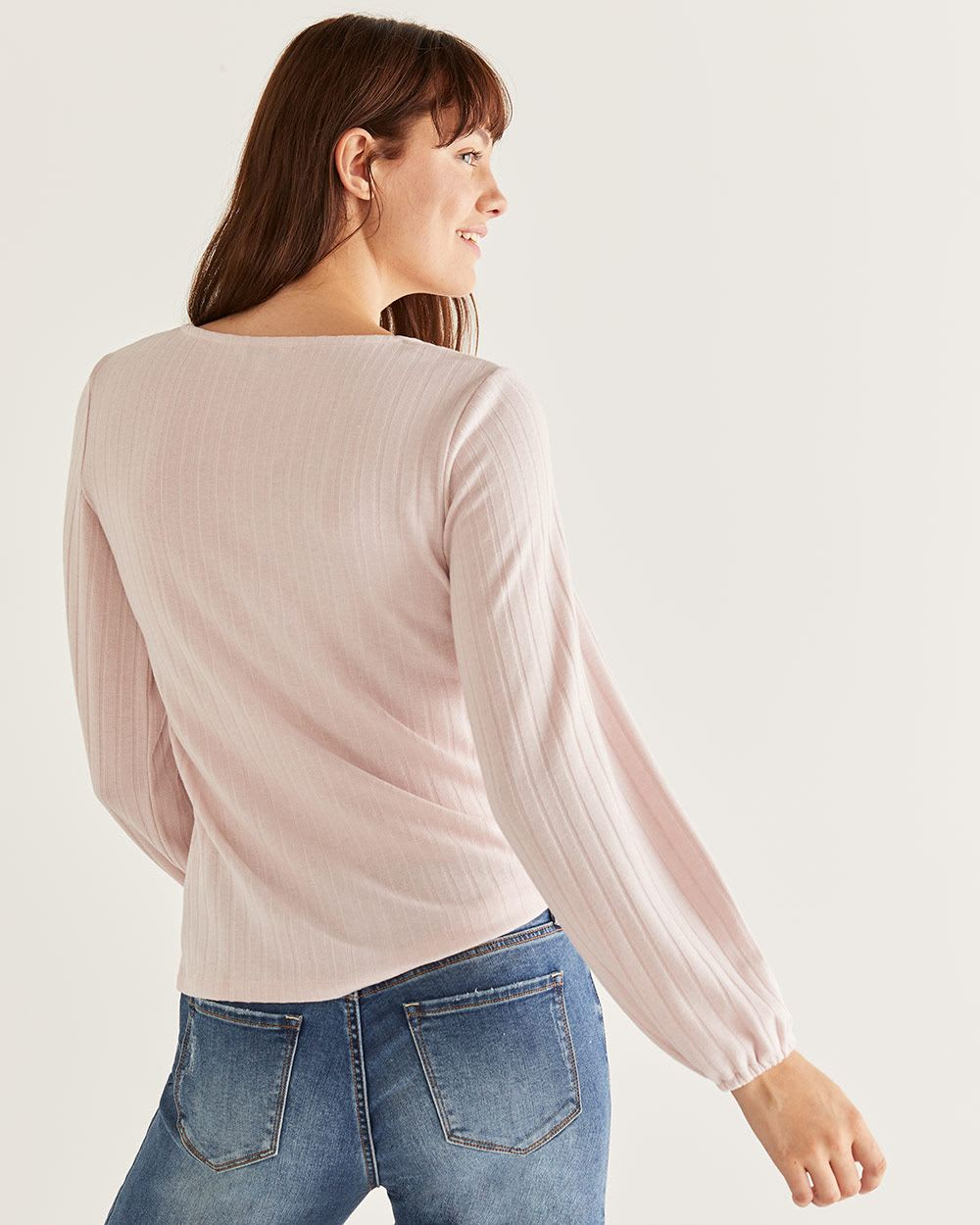 Bubble Sleeve Rib Knit Top