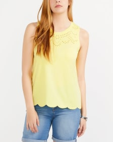 Embroidered Tank Top with Scalloped Hem