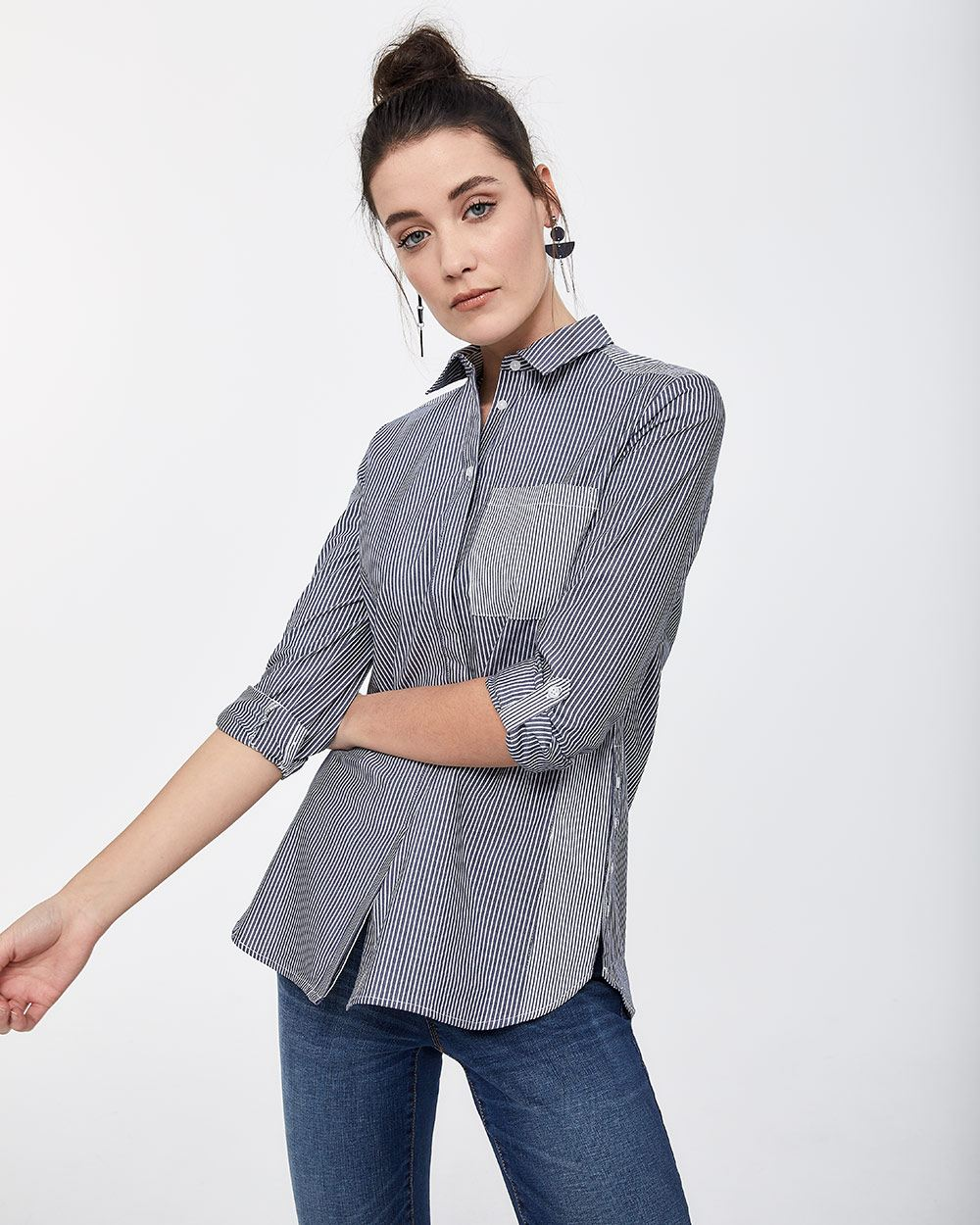 Mixed Stripes Poplin Shirt