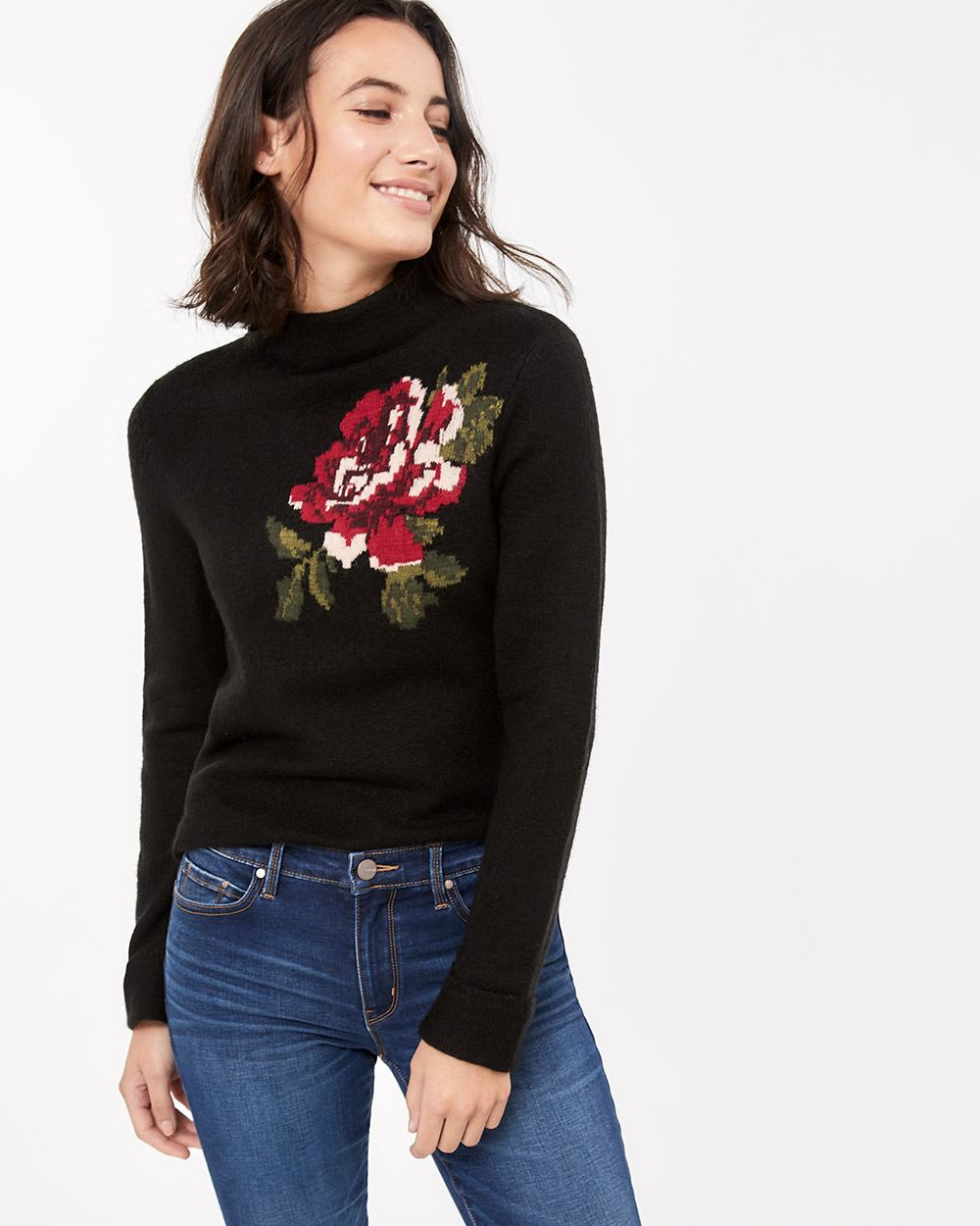 Long Sleeve Sweater with Floral Print