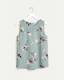 Sleeveless Printed Blouse with Pintucks